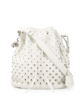 Alexander McQueen Studded Padlock Bucket Bag, White