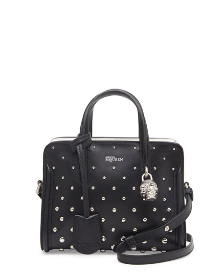 Mini Studded Padlock Zip-Around Tote Bag, Black/White
