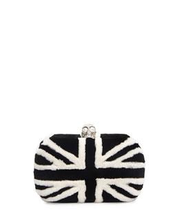 Alexander McQueen Britannia Skull-Clasp Mink Fur Clutch Bag, Black/White