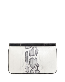 Python Hexagon Frame Clutch Bag, Ivory/Black
