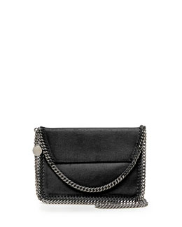 Falabella Mini Flap Shoulder Bag, Black