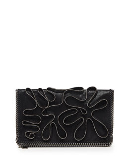 Stella McCartney Falabella Zipper-Trim Fold-Over Clutch Bag, Black