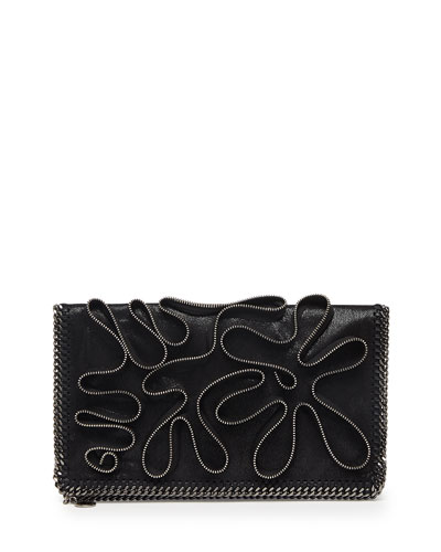 Falabella Zipper-Trim Fold-Over Clutch Bag, Black