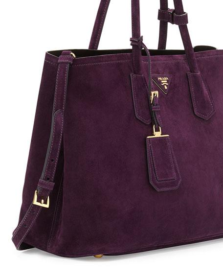 bbafac71dda11 Prada Suede Medium Double-Pocket Tote Bag