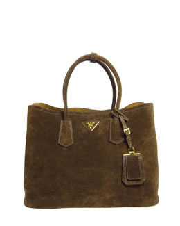 Prada Suede Medium Double-Pocket Tote Bag, Dark Brown (Mogano)