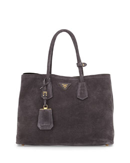 Prada Suede Medium Double-Pocket Tote Bag, Charcoal (Ematite)