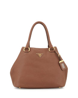 Prada Vitello Daino Satchel Bag with Strap, Brown (Marrone)