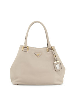 Prada Vitello Daino Satchel Bag with Strap, Light Gray (Pomice)