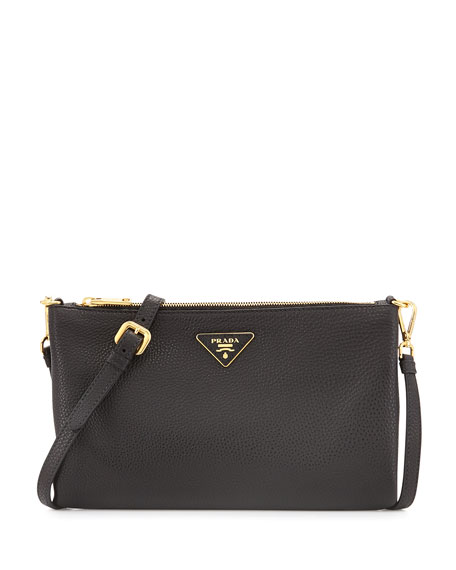 Prada Vitello Daino Crossbody Bag, Black (Nero)