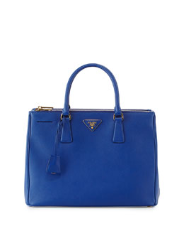 Saffiano Double-Zip Executive Tote, Blue (Royal)