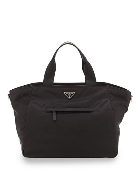 e5ac16da2d3b Prada Vela Nylon Tote Bag with Strap, Black (Nero)