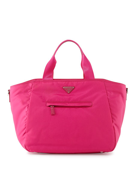 parda handbags - Prada Vela Nylon Tote Bag with Strap, Pink (Fuxia)