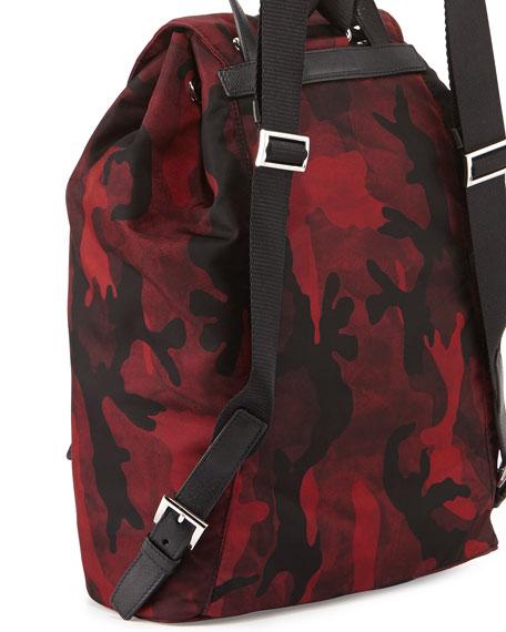6a3326fb766e Prada Tessuto Camouflage Backpack, Bordeaux (Granato)