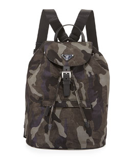 Tessuto Camouflage Backpack, Gray Multi (Fumo)