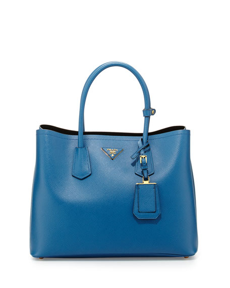 Saffiano Cuir Medium Double Bag, Blue (Cobalto)