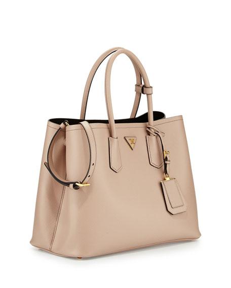 Saffiano Cuir Double Bag, Tan (Cammeo)