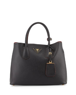 Prada Saffiano Small Double-Compartment Tote Bag, Black (Nero)