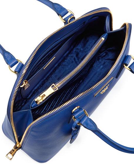 Prada Medium Saffiano Vernice Pomenade Bag, Dark Blue (Inchiostro)
