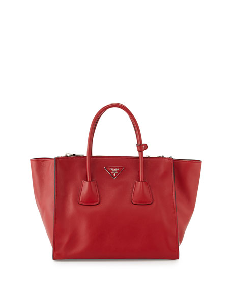 63da650be9b4 Prada City Calf Large Twin-Pocket Tote Bag, Red (Fuoco)