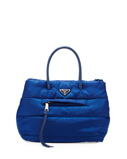 Prada Tessuto Bomber Satchel Bag, Blue (Bluette)