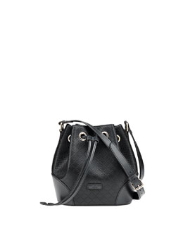 Gucci Bright Diamante Small Bucket Bag, Black