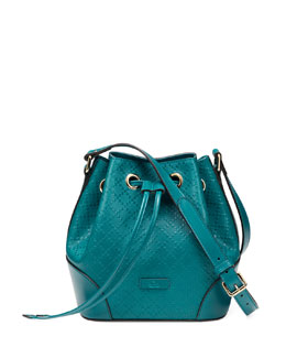 Gucci Bright Diamante Leather Bucket Bag, Turquoise