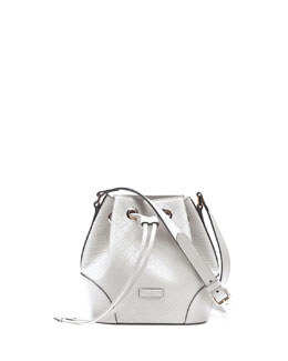 Gucci Bright Diamante Small Bucket Bag, White