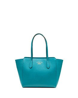 Gucci Swing Small Leather Tote Bag, Turquoise