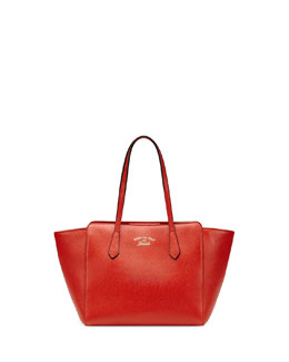 Gucci Swing Small Leather Tote Bag, Orange