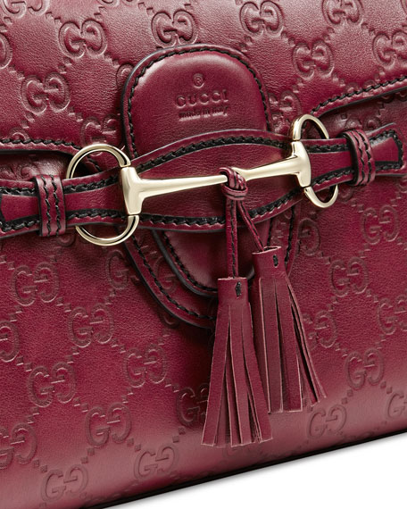 9909f50c3516 Gucci Emily Guccissima Leather Chain Shoulder Bag, Dark Red