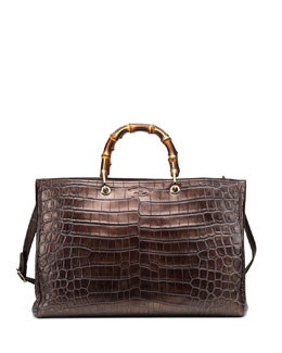 Gucci Crocodile Bamboo Large Shopper Tote Bag, Bronze