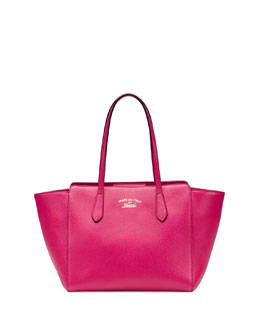 Gucci Swing Small Leather Tote Bag, Fuchsia