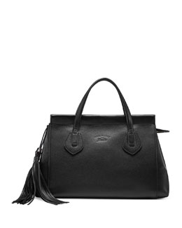 Gucci Lady Tassel Medium Leather Top Handle Bag, Black