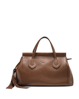 Gucci Lady Tassel Medium Leather Top Handle Bag, Brown