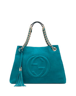 Gucci Soho Nubuck Leather Shoulder Bag, Turquoise