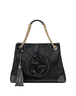 Gucci Soho Calf Hair Shoulder Bag, Black