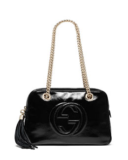 Gucci Soho Patent Leather Chain Shoulder Bag, Black