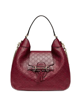 Gucci Emily Guccissima Leather Hobo Bag, Dark Red