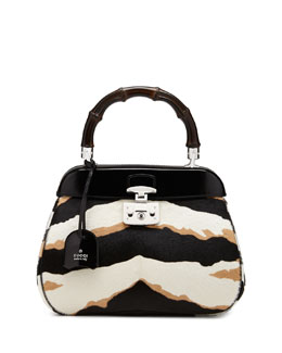 Gucci Lady Lock Medium Tiger-Print Calf Hair Bag, Black/White