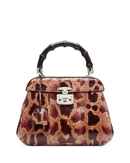 Gucci Lady Lock Medium Python Top Handle Bag, Dark Red