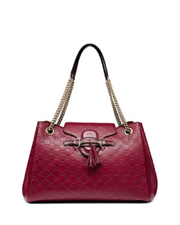 Gucci Emily Medium Guccissima Shoulder Bag, Dark Red