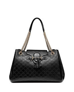 Gucci Emily Medium Guccissima Shoulder Bag, Black