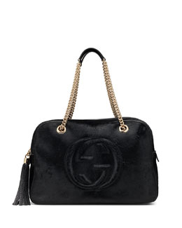 Gucci Soho Calf Hair Chain Shoulder Bag, Black