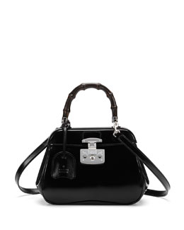 Gucci Lady Lock Mini Leather Top Handle Bag, Black
