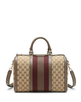 Gucci Vintage Web Original GG Canvas Boston Bag, Gray