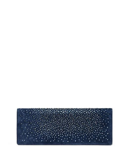 Gucci Broadway Suede Crystal Clutch Bag, Navy