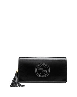 Gucci Soho Patent Leather Clutch Bag, Black