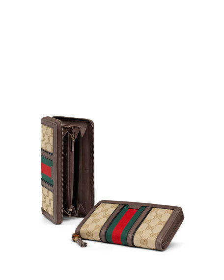 01e1bc7c1d47 Gucci Rania Original GG Canvas Zip Around Wallet, Gray