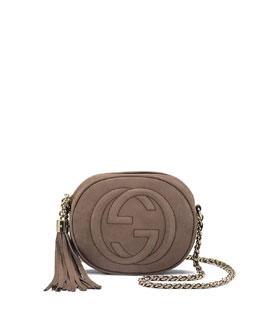 Gucci Soho Nubuck Leather Mini Chain Bag, Gray
