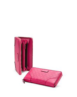 Gucci Bright Diamante Leather Zip Around Wallet, Fuchsia